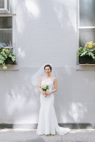 happy bride on her wedding day in NYC
