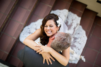 Great wedding photo of adorable couple at  Estancia in La Jolla