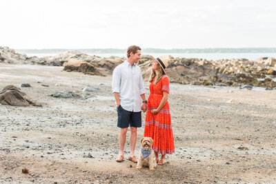 maternity session on beach in Boston with their dog