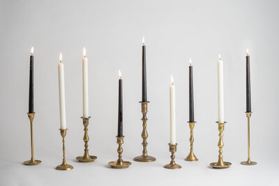 Assorted Brass Candlesticks Rental