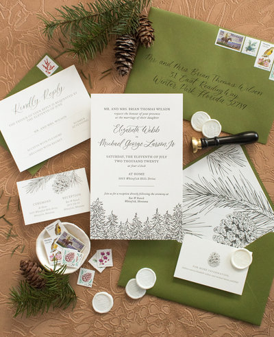 PNW wedding invitation suite green Sablewood Seattle