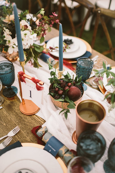 Jewel Toned Tablescape at Memorial Weekend Tented Reception