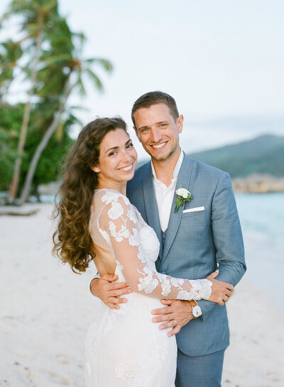 The bride and the groom in French Polynesia during their wedding (Pacific island)