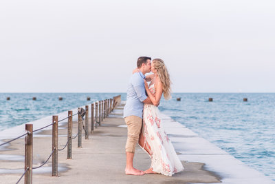 Lakefront chicago engagement photography lake Michigan beach