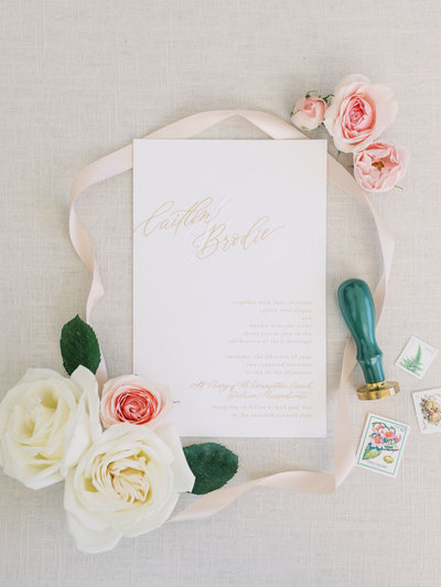 Light and airy wedding invitation suite with custom calligraphy
