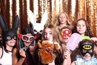 colorful group of girls celebrating bat mitzbah