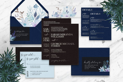 black-and-silver-foil-stamped-wedding-invitation-suite-light-blue-watercolor