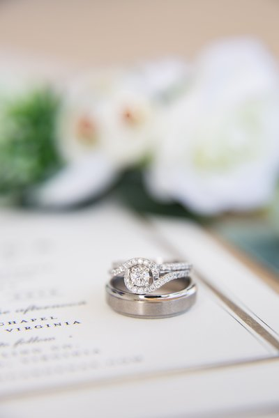 macro ring shot of wedding bands and engagement ring at Old Pate Chapel in Lynchburg Virginia