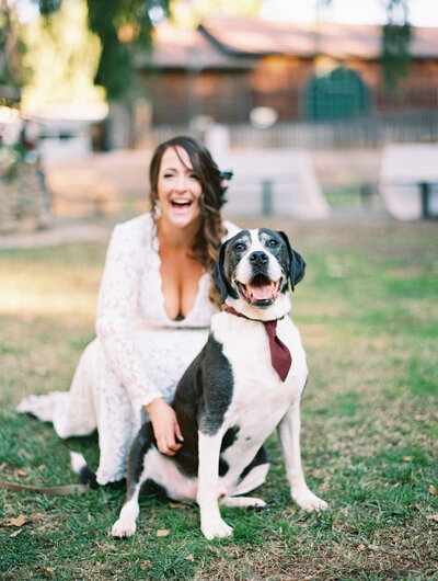 bride poses with dog wearing tie at San Diego wedding