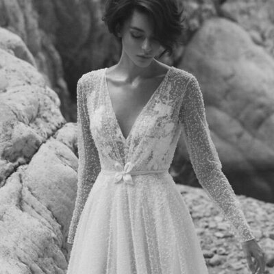 Beaded a-line wedding gown