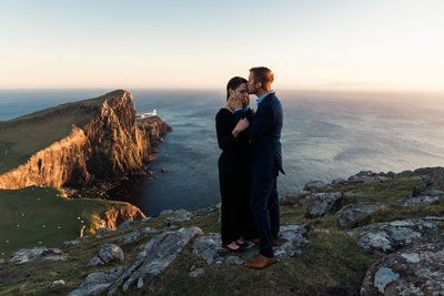 couple on cliffs in Scotland