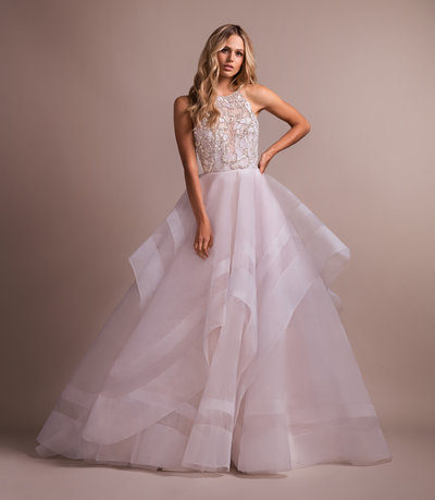 Hayley Paige bridal gown - Alabaster tulle ball gown with crystal stone butterfly bodice, scalloped jewel neckline and low scoop back, cascading skirt with striped horsehair detail.