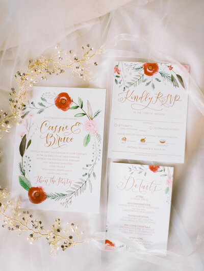 wedding invitations with beautiful hand lettering