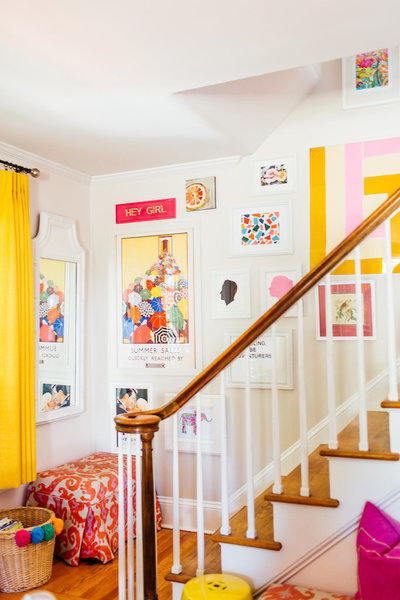 A brightly and colorfully decorated staircase.