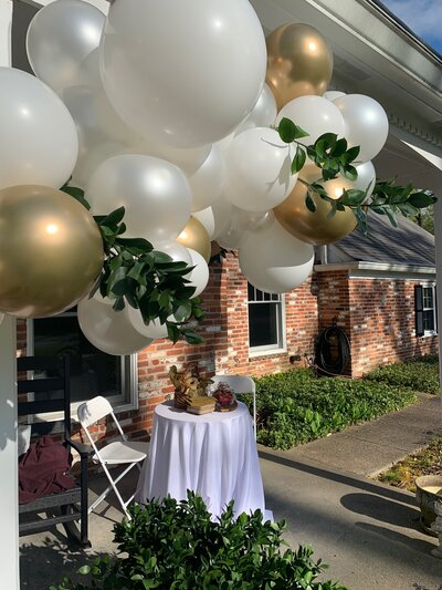 New Years Eve Party Design Ideas. Black Gold and White balloon banister design