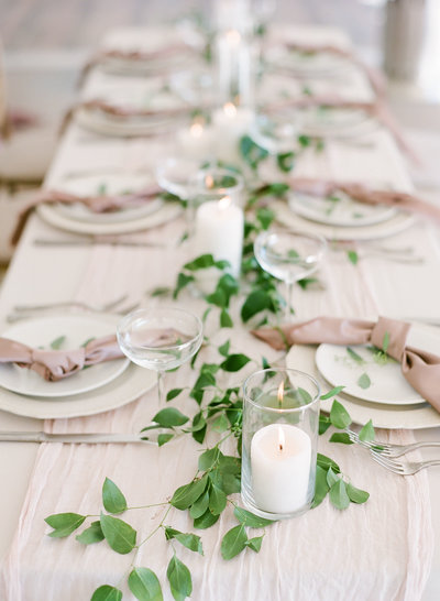 Tuscany Italy Inspired Tablescape Loose Greenery Blush Taupe Ivory White Charleston Wedding