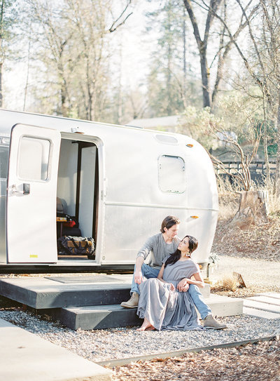 Post wedding session at Yosemite National Park Autocamp Photographed by Amy Mulder Photography