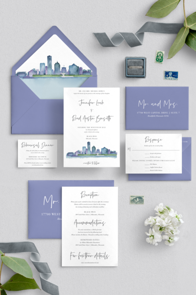 Watercolor Milwaukee Skyline Wedding Invitation by Elizabeth Webber of Coqui Paperie