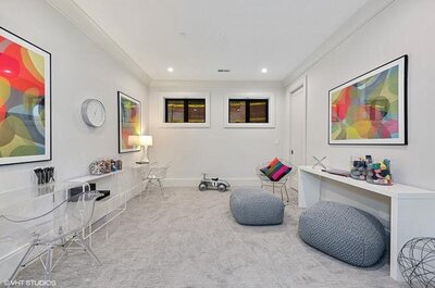 HAVEN Home Staging and Redesign - Kenmore Office neutral tones with pops of color oranges greens blues greys whites