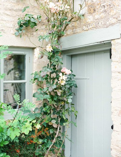 Door and window of Bank Cottage in the Cotswolds painted with Arte di Vita paint.