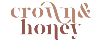 Primary logo for Crown and Honey, all lowercase, crown is written in pink as well as the ampersand while honey is written in rich burgundy
