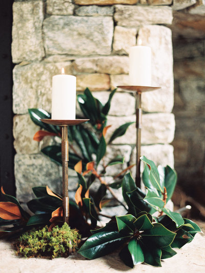 Candles and Magnolia Leaves at Old Edwards Inn Wedding