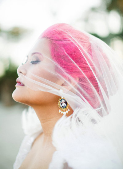 Jekyll island wedding pink hair bride