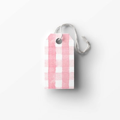 pink gingham tag mockup low res