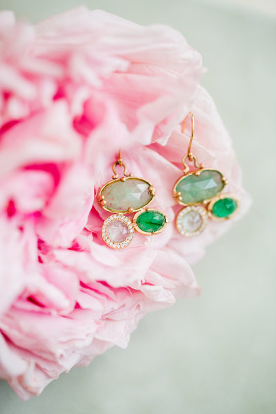 Emerald earrings fine art photography