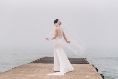 Bridal portrait at Elder Lane Beach Winnetka