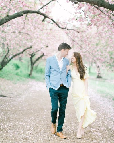 Cherry Blossom Engagement Photography in Central Park, NYC