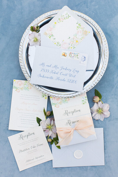 notebook southern wedding dusty blue floral invitation wax seal stamps silk ribbon 1