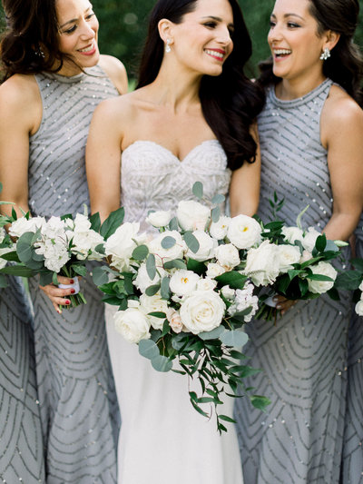 Lush white and soft green cascade bridal bouquet.