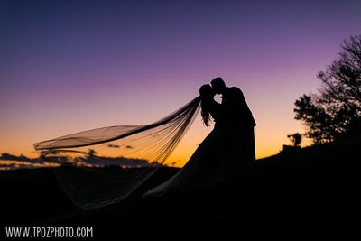 Silhouette bride+groom at sunset at The Grand Lodge of Maryland