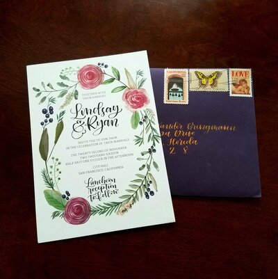 fall wedding purple watercolor flower invitations