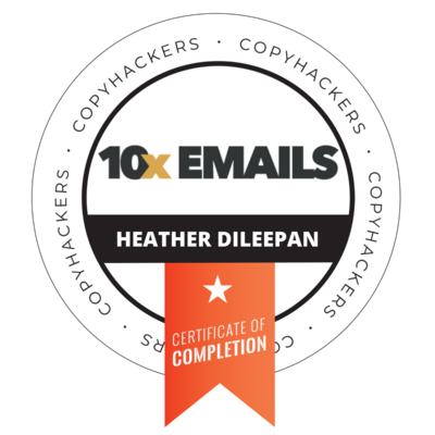 heather 10x Emails Badge