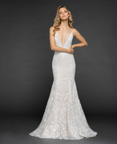Hayley Paige bridal gown - Ivory labyrinth caviar fit to flare gown, deep sweetheart neckline with illusion net and rhinestone accent, fitted through hip and full caviar skirt with cashmere lining.