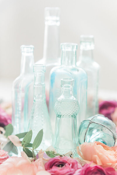 glass bottles wedding decor