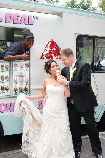 bride & groom eating ice cream