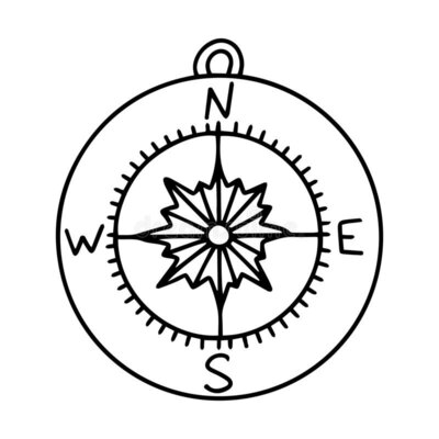 travel-compass-doodle-style-hand-drawn-isolated-white-background-navigation-equipment-hiking-orientation-black-176084431