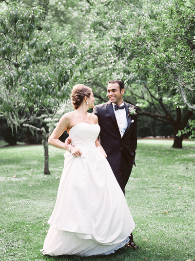 Bride & Groom in Apple Orchard at Old Edwards Inn in Highlands, NC