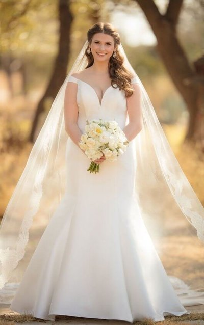 Plus size bridal gown with plunging neckline