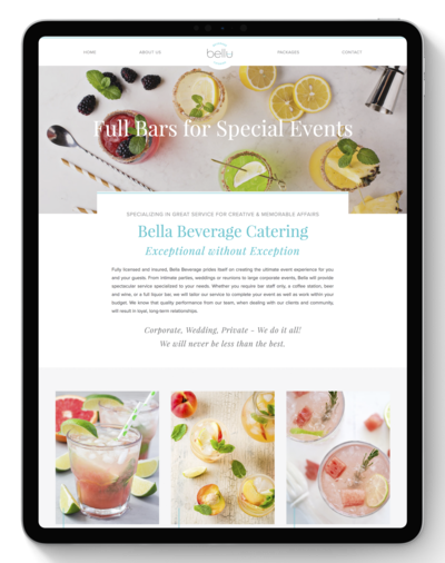 Bella Beverage Catering Website After Transformation