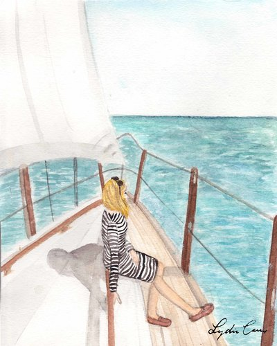 girl sailboat summer watercolor illustration