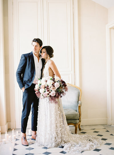 French elopement bride and groom in chateau. Mira Zwillinger gown Photographed by Amy Mulder Photography