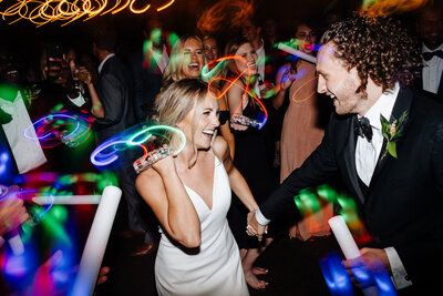 wedding reception with glow sticks