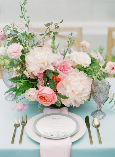 Colorful Spring Centerpiece and Place Setting in Charleston SC