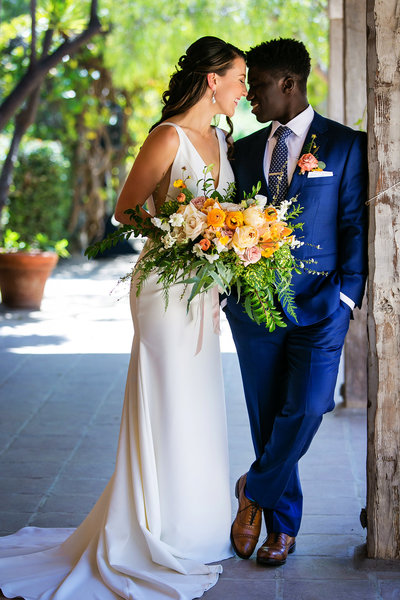 romantic couple portrait multiethnic santa barbara historical museum wedding