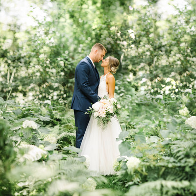 Elegant wedding photographed  at Camrose Hill Flower Farm in Stillwater, Minnesota