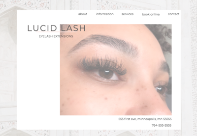 Eyelash extension business website template